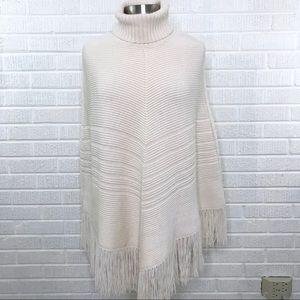 Banana Republic Merino Wool Fringe Poncho Sweater